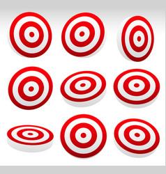 Red bullseye target set vector