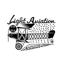 Retro aviation design with airplane and wings vector