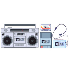 retro tape player vintage cassette music players vector image