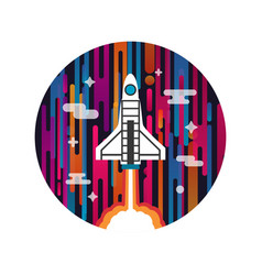 rocket on space vector image