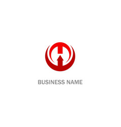 round arrow up sign business logo vector image