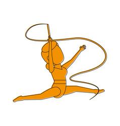 rythmic gymnast with ribbon athlete sport avatar vector image