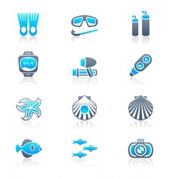 scuba diving icons marine vector image
