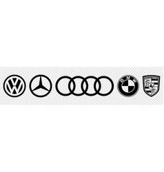 Set black logo top germany auto cars vector