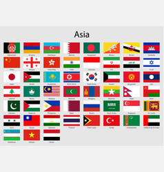 Set flags asian countries all asia flag vector