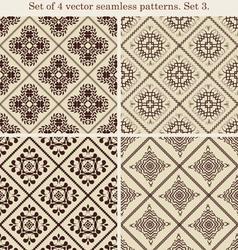Set of 4 vintage seamless patternsSet 3 vector image