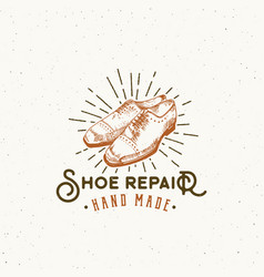 shoe repair retro sign symbol or logo vector image