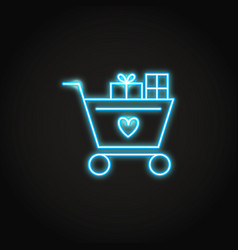 shopping cart with presents and heart neon icon vector image