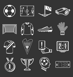 soccer football icons set grey vector image