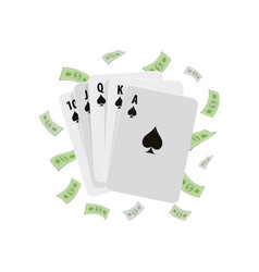 Spade royal flush winning poker hand and money vector