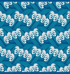 stylized sea waves seamless pattern vector image