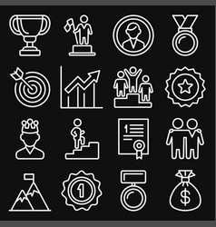 success and victory icons set on black background vector image