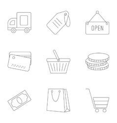 Supermarket icons set outline style vector image