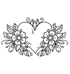 Tattoo heart decorated ribbon flowers leaves vector