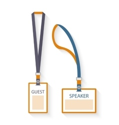 Template flat design icons of lanyard and badge vector