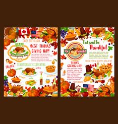 thanksgiving day autumn holiday banners vector image