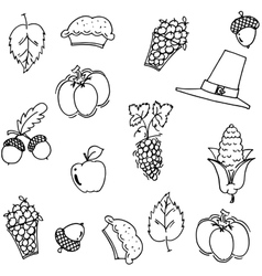 Thanksgiving fruit and vegetable doodle vector image