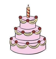 Three-tiered birthday cake icon cartoon vector