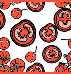 tomato and radish seamless pattern vector image