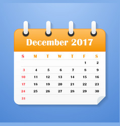 Usa calendar for december 2017 vector