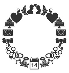 Valentines day round frame of the icons set of vector