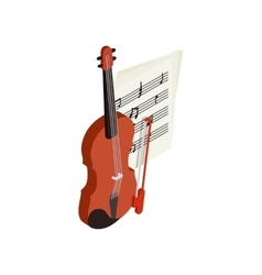 Violin with fiddlestick icon isometric 3d style vector image