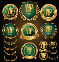 Vip member golden badge collection vector