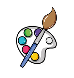 Watercolor palette with paint brush object vector