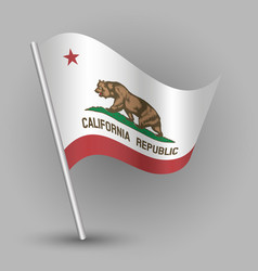 Waving triangle american state flag california vector