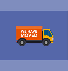 we have moved banner moving concept changing vector image