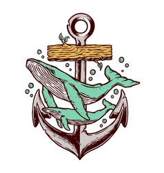 whale and anchor vector image