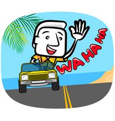 White man cartoon riding a car on beach vector