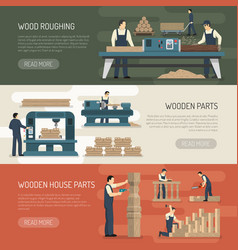 Wood roughing horizontal banners vector