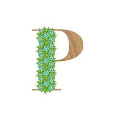 wooden leaves letter p vector image