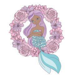 wreath mermaid floral sea princess vector image