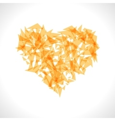 Yellow origami heart on white backdrop vector image