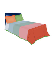 baby bed with colorful blanketbed for sleeping vector image vector image