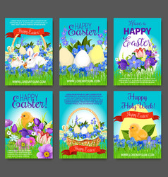 easter egg rabbit chicken greeting card template vector image vector image