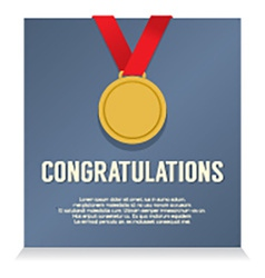 Golden Medal With Congratulations Card vector image vector image
