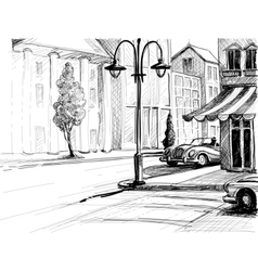 Retro city sketch street buildings and old cars vector image vector image