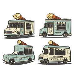 retro colored ice cream transport set vector image