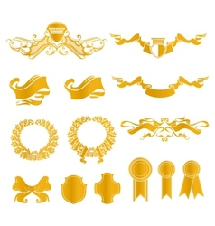Set of heraldic elements vector image vector image