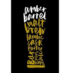 Beer Print for bar restaurant Calligraphy vector image