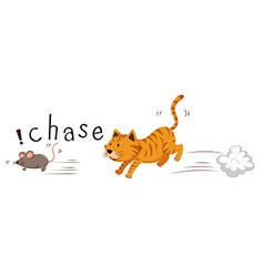 Ginger cat chasing a mouse vector image vector image