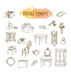 Hand drawn vintage elements Antique furniture vector image