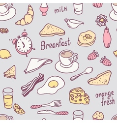 Cute hand drawn breakfast seamless pattern vector image