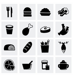 Food icon set vector image