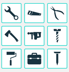 repair icons set collection of axe bolt spanner vector image vector image