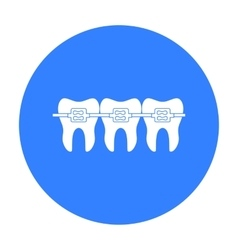 Teeth with dental braces icon in black style vector image