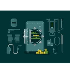 Bank safe with tools for hacking vector image